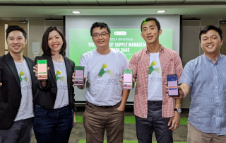 Advotics' Co-founder and CEO Boris Sanjaya (from left), Head of Growth Venny Septiani, Co-founder and CTO Hendi Chandi, Co-founder and CPO Jeffry Tani, and representative from Danone